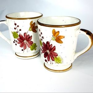 Pair Vintage Stonecrest Speckled Floral Coffee Cup